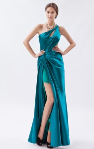 Teal One Shoulder High Slit Sequins and Ruch Prom Evening Dress