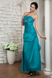 Teal Prom Evening Dress Strapless Ankle-length Beading