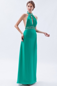 Turquoise Backless Halter Top Chiffon Beading Prom Evening Dress