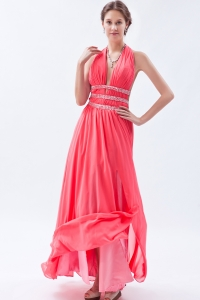 Watermelon Deep V-neck Halter Slit Chiffon Beading Prom Dress