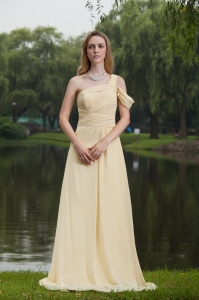 Yellow Prom Dress Empire One Shoulder Sweep Chiffon Ruch