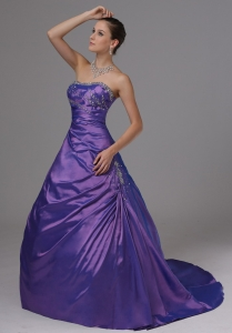 A-line Eggplant Purple Beaded Decorate Bust Prom Dress
