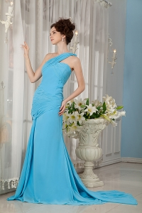 Aqua Blue One Shoulder Watteau Train Prom Evening Dress