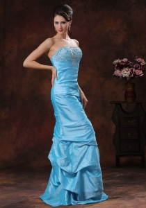 Affordable Beaded Aqua Blue Mermaid Prom Evening Dresses
