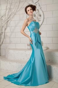 Mermaid Brush Train Ruch and Beading Satin Prom Dress