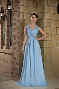 Baby Blue Straps Brush Train Chiffon Beading Prom Dress