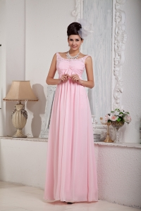 Ladylike Baby Pink Scoop Chiffon Beading Prom Dress