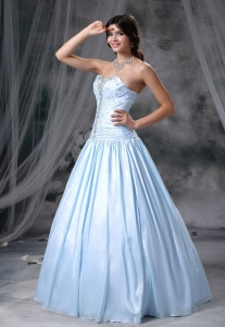 Beaded Sweetheart Organza and Taffeta Light Blue Prom Dress