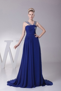 Beaded V-neck Royal Blue Prom Dress With Brush Trian