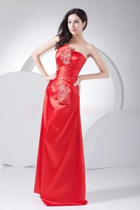 Strapless Red Taffeta Beading Ruched Red Carpet Dresses