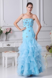 Mermaid Beading and Ruffles Decorate Bodice Aqua Blue Prom Dress