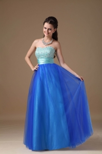 Two-tones Tulle Floor-length Taffeta and Beading Prom Dress
