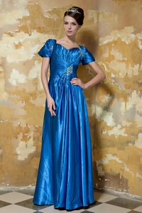 Blue Short-Sleeves Taffeta Beading Prom Evening Dress
