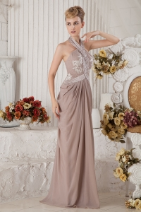 Brown Halter Brush Train Appliques and Ruch Prom Dress