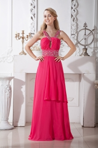 Coral Red Prom Dress V-neck Brush Train Chiffon Beading