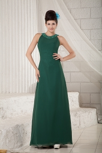 Dark Green Scoop Floor-length Chiffon Beading Prom Dress