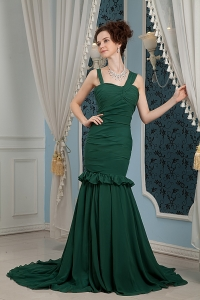 Dark Green Mermaid Straps Brush Train Chiffon Prom Dres