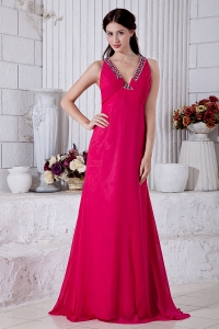 Fuchsia Prom Evening Dress V-neck Brush Train Beading
