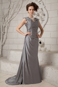 Prom Dress V-neck Gray Column Brush Train Chiffon Ruch