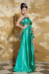 Green High-low leopard Print Silk Like Satin Beading Prom Dress
