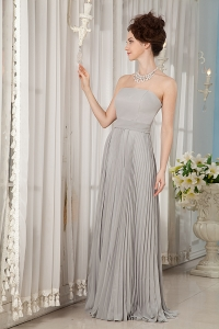 Grey Empire Strapless Brush Train Ruch Bridesmaid Dress