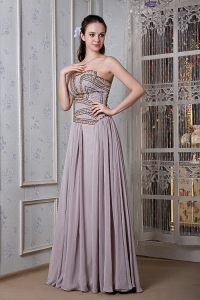 Elegant Grey Empire Strapless Chiffon Beading Prom Dress