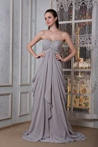 Grey Prom Dress Empire Sweetheart Brush Train Beading
