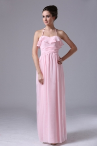 Halter Ruched Pink Chiffon Column Prom Evening Dress