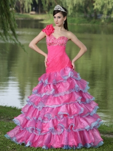 Hand Made Flower One Shoulder Ruffled Layers Prom Evening Dress