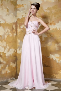 Baby Pink Sweetheart Prom Dress Brush Train Chiffon Beading