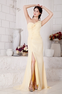 Light Yellow Prom Evening Dress One Shoulder Hand Made Flowers