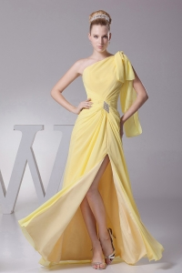 Light Yellow One Shoulder and High Slit Prom Evening Dress