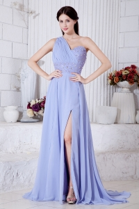Lilac One Shoulder Watteau Train Beading Prom Evening Dress