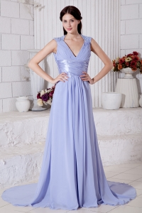 Lilac V-neck Brush Train Chiffon Prom Evening Dress
