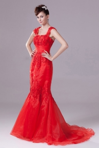 Mermaid Straps Beading Square Red Prom Dress with Chapel Train
