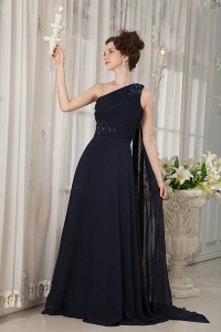 Navy Blue One Shoulder Watteau Train Beading Prom Dress