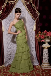 Olive Green One Shoulder Chiffon Beading Prom Evening Dress