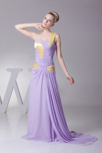 One Shoulder Lilac Prom Dress With Chiffon and Brush Train