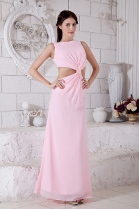 Pink Empire Bateau Ankle-length Chiffon Prom Evening Dress