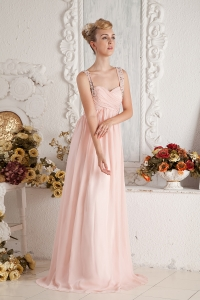 Pink Straps Brush Train Chiffon Beading Ruch Prom Dress