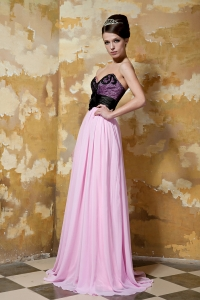 Pink and Black Sweetheart Chiffon Hand Made Flower Prom Dress