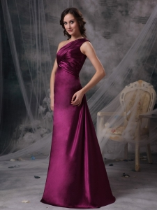 Purple One Shoulder Satin Ruch Mother of the Bride Dress