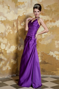 Purple V-neck Straps Taffeta Beading Prom Dress