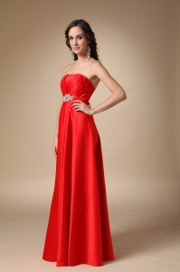 Red A-line Strapless Beading and Ruch Prom Evening Dress
