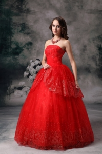 Red Strapless Ball Gown Sequin Prom Evening Dress