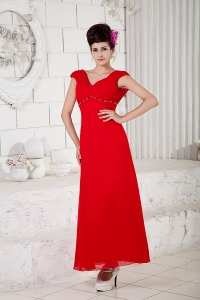 Red Column V-neck Prom Dress Ankle-length Chiffon Beading