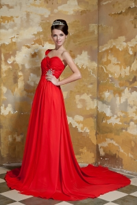 Red One Shoulder Watteau Train Chiffon Beading Prom Dress