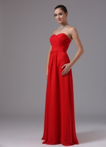 Red Sweetheart Ruched Prom Dress Chiffon Floor-length