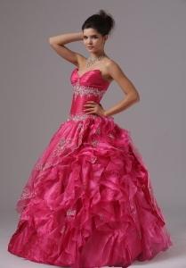Ruffled Layers V-neck Appliques and Sweetheart Prom Dress