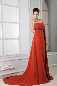 Rust Red Empire Strapless Court Train Sash Prom Dress